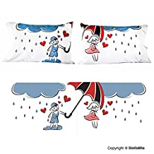 """StellaMia Couple's Pillowcase Set - Soft White Poly Cotton - """"Raining Love"""" - Matching Romantic Gift Idea for Couples Anniversary, Wedding, Engagement, Christmas or Holiday Gift for Him and Her, 20x30 Inches, 50x75 Centimeters"""