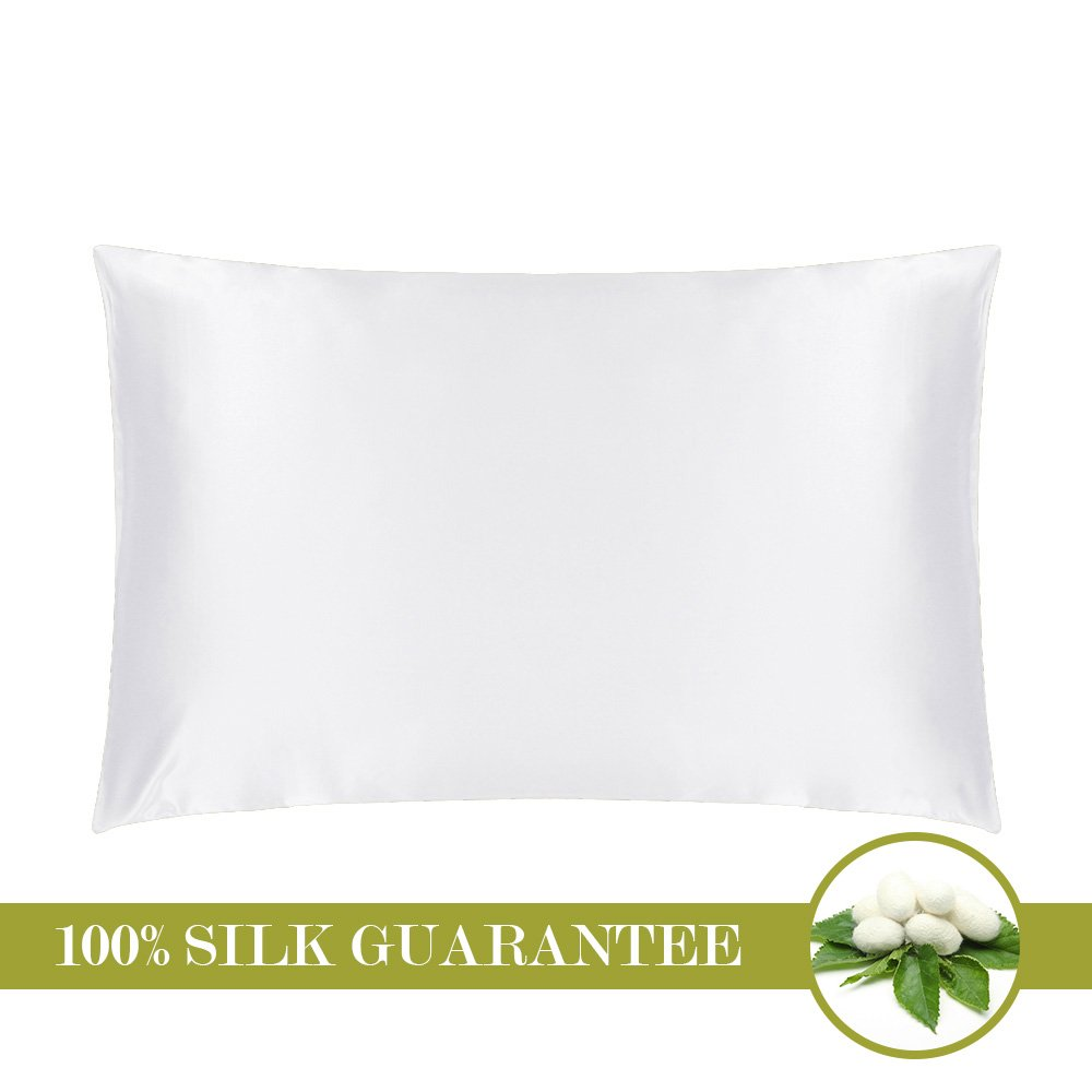 MOMMESILK Mulberry Silk Pillowcase with Hidden Zipper White Standard 20 X 26- Inches
