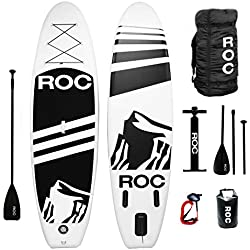 """Roc Inflatable Stand Up Paddle Board W Free Premium SUP Accessories & Backpack { Non-Slip Deck } Bonus Waterproof Bag, Leash, Paddle Hand Pump !!! 10' 5"""" Long 6"""" Thick Extra Stability"""