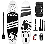 RoC Inflatable Stand up Paddle Board W Free Premium SUP Accessories & Carrying Bag, Waterproof Bag, Leash, Paddle and Hand Pump !!! 10' 5' Long 6' Thick for Extra Stability