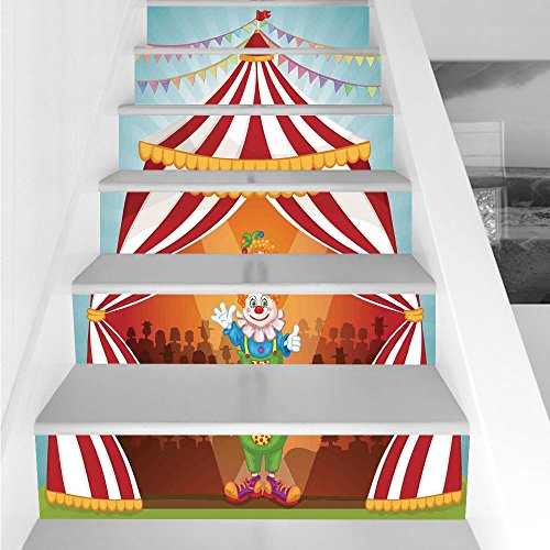 Stair Stickers Wall Stickers,6 PCS Self-Adhesive,Circus Decor,Cartoon Clown in Circus Tent Cheerful Costume Funny Entertainer Joyful,Stair Riser Decal for Living Room, Hall, Kids Room -