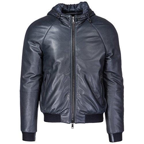 Emporio Armani Men's Designer Leather Jacket, Blue abisso, 50