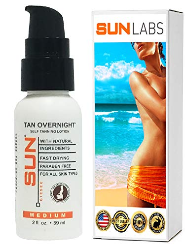 Travel Size Self Tan Mini 2 oz Bottle | Self Tanner | Sunless Tanning Lotion Tan Overnight Instant Tint Face and Body Lotion for Bronzing by Sun Labs