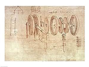 Leonardo Da Vinci – Estudios de ruedas dentadas y un higrómetro Artistica di Stampa (60,96 x 45,72 cm)
