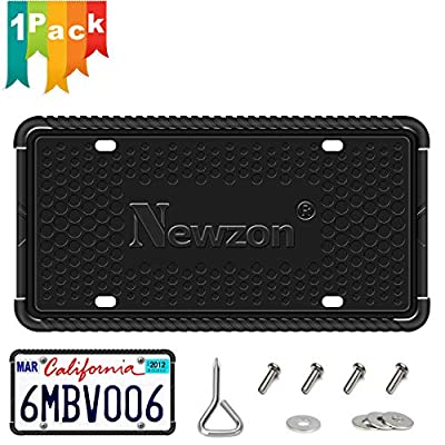 Newzon Black License Plate Frame - 1 Pack Industrial Grade Silicone License Plate Holder - Universal American Auto License Plate Frame Black Rattle-Proof & Weather-Proof, Plating Screw & Washer: Automotive