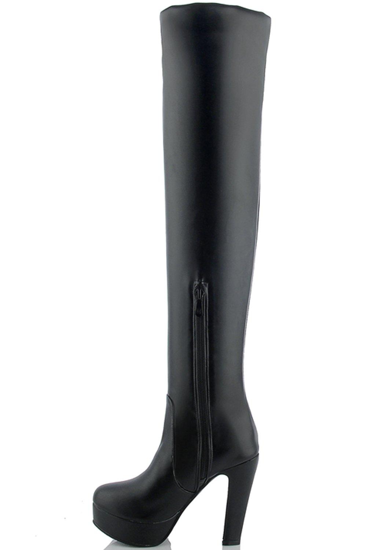e2d6227578751 BIGTREE muslo alto Botas Mujer Alto Tacón PU Cuero Caída casual del bloque Plataforma  de invierno Botas sobre la rodilla Negro-pu