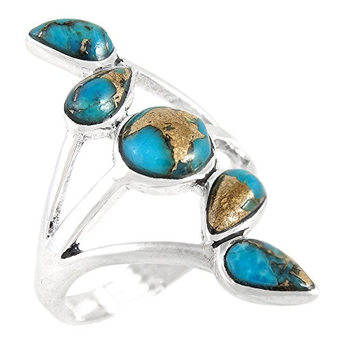 Turquoise Ring Sterling Silver 925 Genuine Turquoise Size 6 to 11 (7)