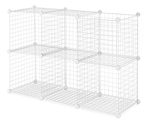 Whitmor Storage Cubes - Stackable Interlocking Wire Shelves - White (Set of 6)