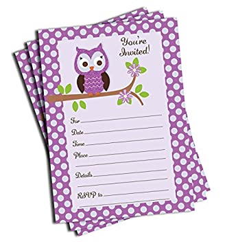 Amazoncom 50 Purple Owl Invitations Baby Shower Birthday