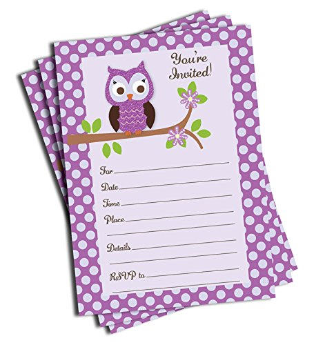 50 Purple Owl Invitations and Envelopes (Large Size 5x7) - Baby Shower - Birthday Party - Any Occasion ()