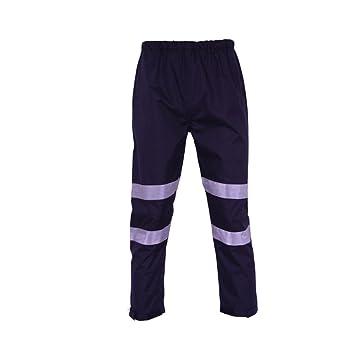 Deylaying Alto Visibilidad reflexivo Raya Lluvia Pantalones Autopista Impermeable Seguro Traje de Trabajo: Amazon.es: Deportes y aire libre