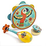 Zhihe Children's Musical Instrument Music Toy Set of 3 Tambourine/Sand Hammer/Castanets (Color : Multi-Colored)