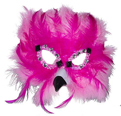 Fun and Tacky Felt Flamingo Carnival Mask w/Feathers & -