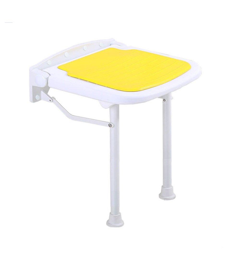 折りたたみ式の壁のシャワーシートスツールアルミ合金のバスルームの折り畳み式の椅子高耐力折りたたみ式のバススツール300kg - イエロー (サイズ さいず : 42.5センチメートル) B07DYL6K4V 42.5センチメートル  42.5センチメートル