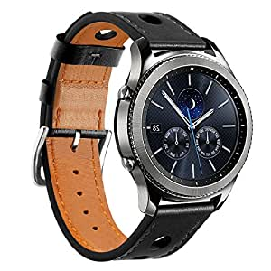 Huamecl Soft Luxury Genuine Leather Strap Replacement Watch Band for Samsung Gear S3 Frontier/Classic-Black