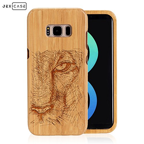 Samsung Galaxy S8 Plus Case Engraved Case,JEXICASE Real Natural Bamboo Wood Animal Engraved Phone Case Cover,Shockproof Dropproof Bumper Protective Carved Cover(Black Panther)