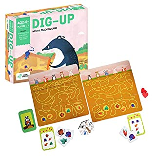 Chalk and Chuckles Dig Up- Brain Exercise Game for Kids, Mental Tracking Game Ages 6 to 99 Years Old