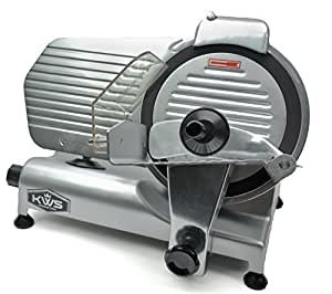 "KWS Premium Commercial 320w Electric Meat Slicer 10"" with Non-sticky Teflon Blade, Frozen Meat/ Cheese/ Food Slicer Low Noises Commercial and Home Use"
