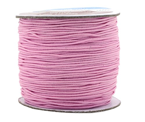 Mandala Crafts 1mm 109 Yards Round Rubber Fabric Covered Elastic Cord, Stretch String for Beading, Jewelry Making, Masks, DIY Crafting (Baby - Cord Rubber Round