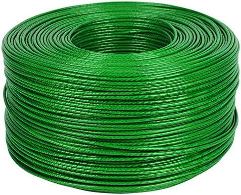 物干しロープ、直径0.4インチ-プラスチックコーティングワイヤーロープの物干しロープ-繊維強化ワイヤー-屋外用の一般的な洗濯物干しロープ、