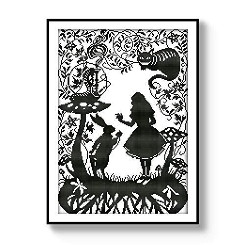 Cross Stitch Stamped Kits Pre-Printed Cross-Stitching Patterns for Beginner Kids Adults, Embroidery DIY Crafts Needlepoint Starter Kits, Fairy Tales Cat Rabbit Princess