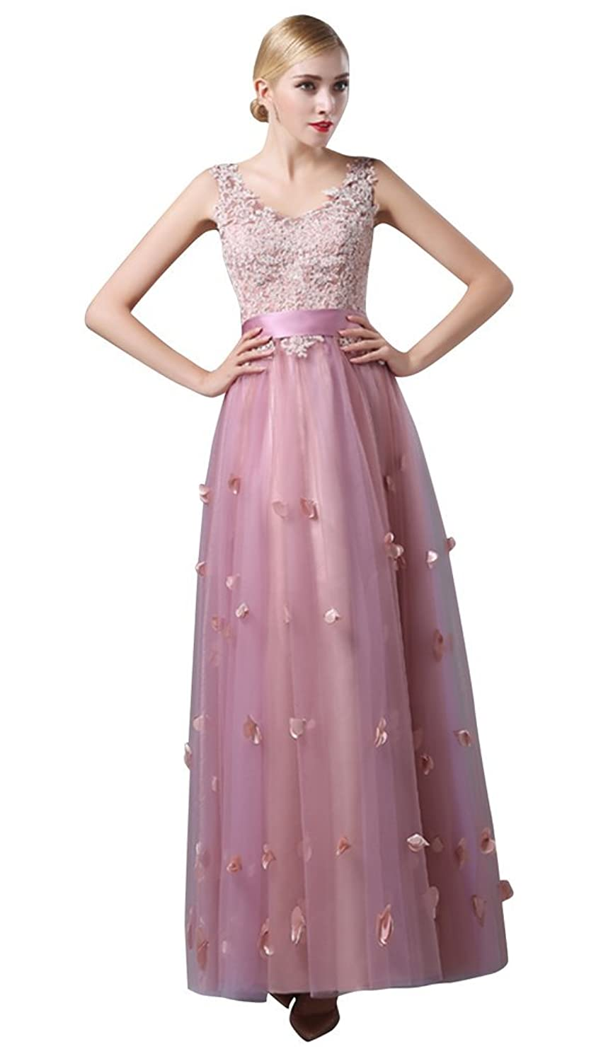 Drasawee Women's Sleeveless Lace Appliqued Formal Long Evening Prom Dress