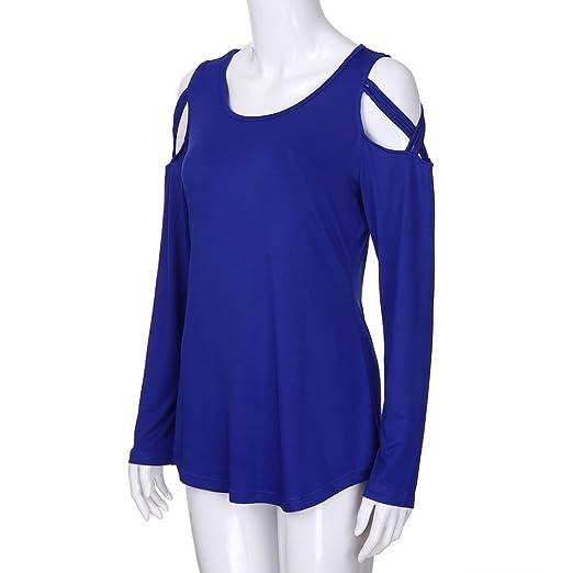 Amazon.com: Teresamoon Cold Shoulder Long Sleeve T Shirts O Neck Tops Casual Criss Cross Tunic Blouse: Arts, Crafts & Sewing