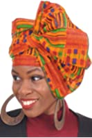 Dupsie's Kente African Print Head wrap with Green Trim One Size Multicolor
