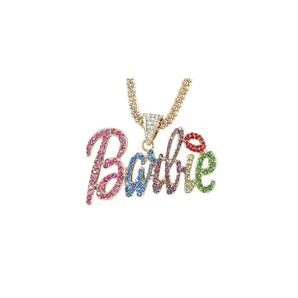 Nicki Minaj Barbie Multicolor Crystal Pendant Charm Gold Tone 18 Chain Necklace