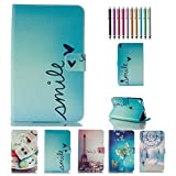 Fire 7 2015 Case,KingCool Smile Printed PU Leather Stand Wallet Case Cover for Amazon Fire 7 inch Tablet (5th Generation 2015 Release)