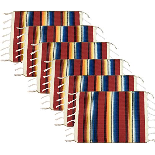 WAZAIGUR Colorful Fringed Mexican Style Placemats Set of 6 Cotton Woven Place Mats for Kitchen Dinning Table Mats Red (Western Table Set)