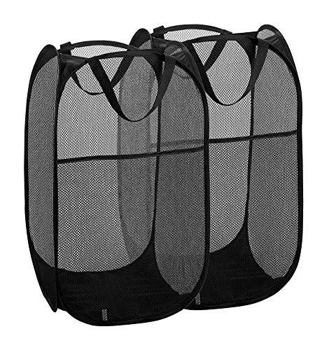 2 Packs Mesh Pop up Laundry Hamper (Black) with