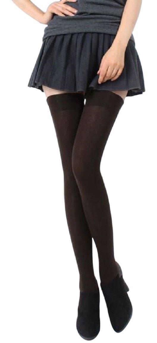 AM Landen Ladies's Cotton Thigh High Socks(Brown US Size 4-6)