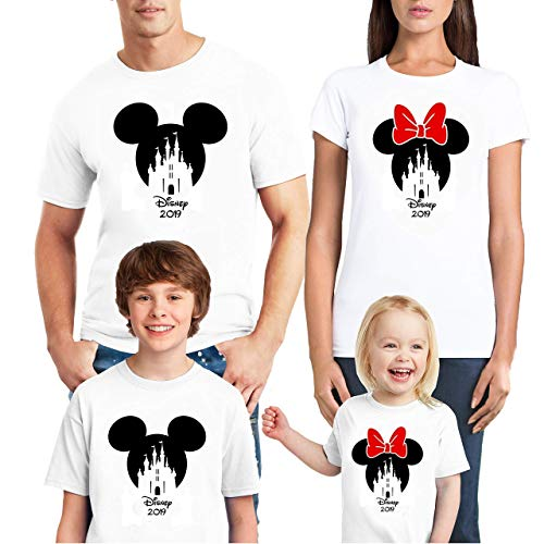 Natural Underwear Handmade Family Trip 2019 Shirts Mickey Mouse Minnie Mouse Cotton Family Couple Matching Crew Round Neck T-Shirts -