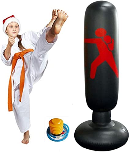 Red WHIRLGEE Inflatable Punching Bag for Kids Adult Martial Art Class 63Inch Fitness Punching Bag Freestanding Boxing Bag for Children Bounce-Back Action Practicing Karate Taekwondo