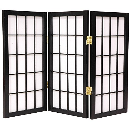 Oriental Furniture Desktop Window Pane 26.5 Inch Shoji Screen (2 Ft Tall Desktop Window Pane Shoji Screen)