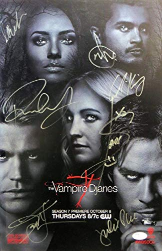 The Vampire Diaries Cast Autographed Signed 11X17 Poster Wesley Plec Somerhalder JSA Authentic