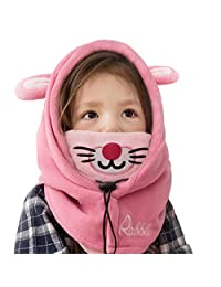 TRIWONDER Balaclava Hat for Kids Face Mask Neck Warmer Thermal Fleece Winter Ski Mask Full Face Cover Cap (Pink - Rabbit)