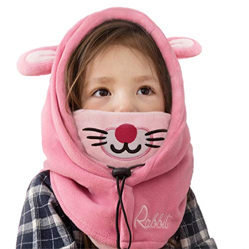 - TRIWONDER Balaclava Hat for Kids Face Mask Thermal Fleece Neck Warmer Winter Ski Mask Full Face Cover Cap (Pink - Rabbit)