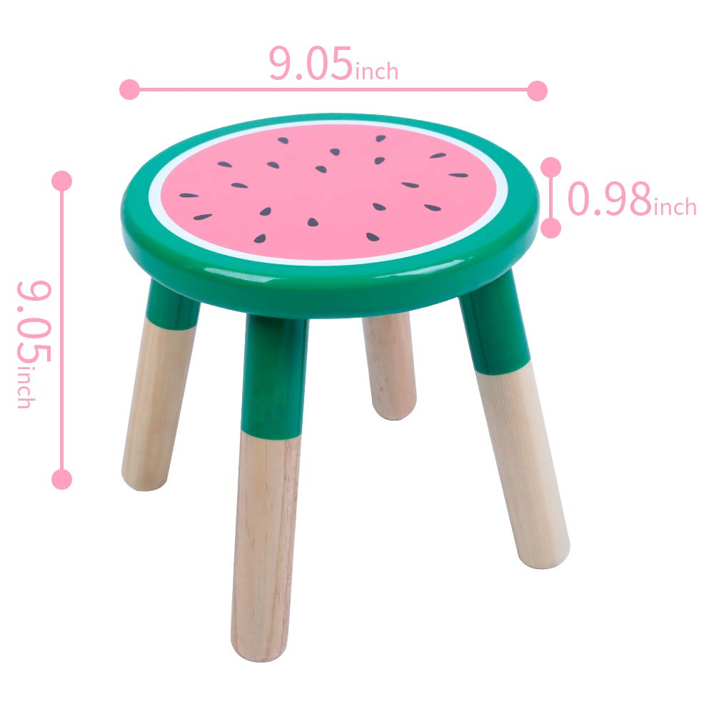Playroom Bedroom Orange Furniture Stool for Kids Crafted Hand-Painted Wood with Assembled Four-Legged Stool RUYU 9 Inch Kids Solid Hard Wood Fruit Chair ❤Orange❤ Girls Children Boys