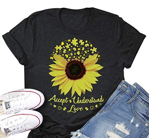 Accept Understand Love Sunflower T-Shirt Women Cute Funny...