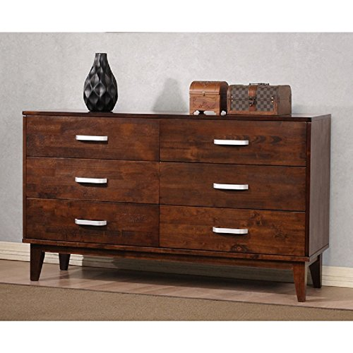 Price comparison product image Draper 6-drawer Tobacco Brown Wood Modern Double Dresser