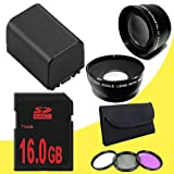 BP-819 Lithium Ion Replacement Battery + 16GB SDHC Class 10 Memory Card + 43mm 3 Piece Filter Kit + Wide Angle Lens + 2x Telephoto Lens for Canon Vixia HFM40 HFM41 HFM400 HV30 Digital Camcorders DavisMAX BP819 Accessory Bundle