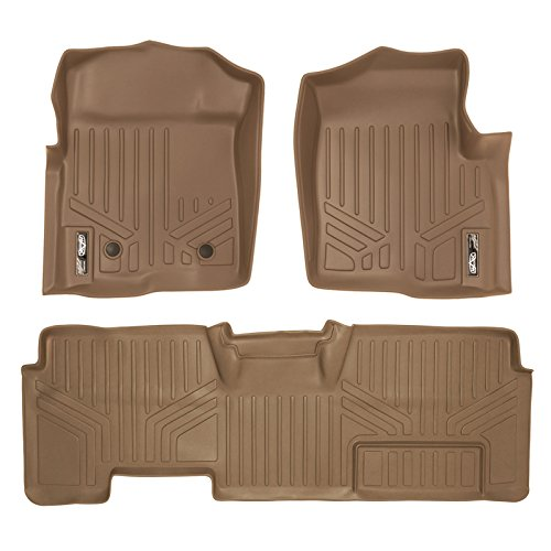 MAXFLOORMAT Floor Mats for Ford F-150 SuperCab Non Flow Center Console (2011-2014) Complete Set (Tan)