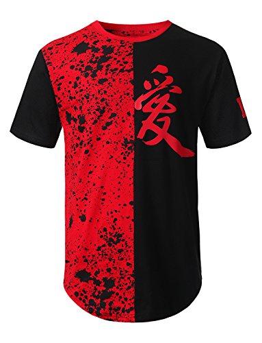 URBANCREWS Mens Hipster Hip Hop Splatter Color Block Logo T-Shirt RED, L