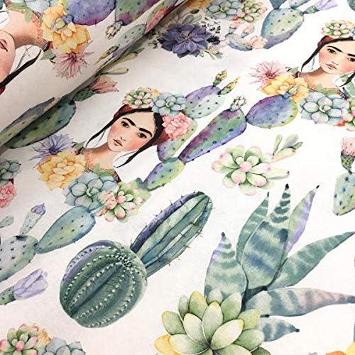 Tela por metros de loneta estampada digital - Half Panamá 100% algodón - Ancho 280 cm - Largo a elección de 50 en 50 cm | Frida Kahlo y cactus