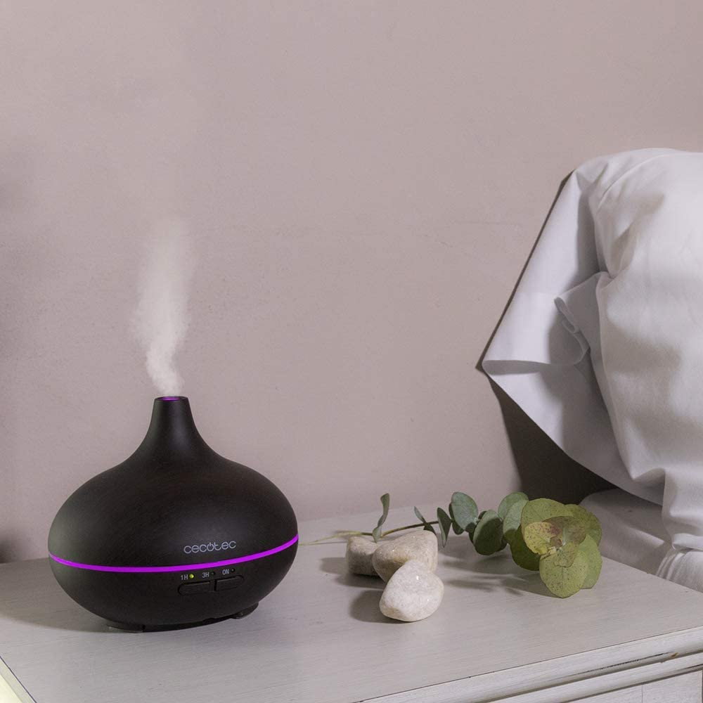 Cecotec Humidificador Ultras/ónico Pure Aroma 150 Ying Difusor de Aroma 150 ml Acabado Madera 7 Colores Led Funci/ón Aromaterapia Ultra Silencioso Temporizador 3 Horas