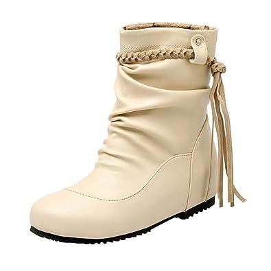 e76519e21d4664 Overdose-Chaussures Soldes Bottes Hautes Hiver Femme Bottes Cuir, Plates  Marron Bout Rond Beige