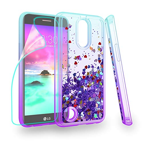 ZingCon Suit for LG K20 Plus Case,LG K20 V/Harmony/LV5 Case, Glitter Quicksand Bling Adorable Shine Case,[HD Screen Protector] Shockproof Hybrid Hard PC Soft TPU Protective Cover-Lake Blue/Purple
