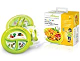 Precise Portions PPK-PK2PL Show N Tell Nutrition Start-Right Plates with Lid and Utensils, Dietitian Developed Portion Control Divided Plates, Microwave Dishwasher Safe, No BPA, Recyclable (Pack of 2)